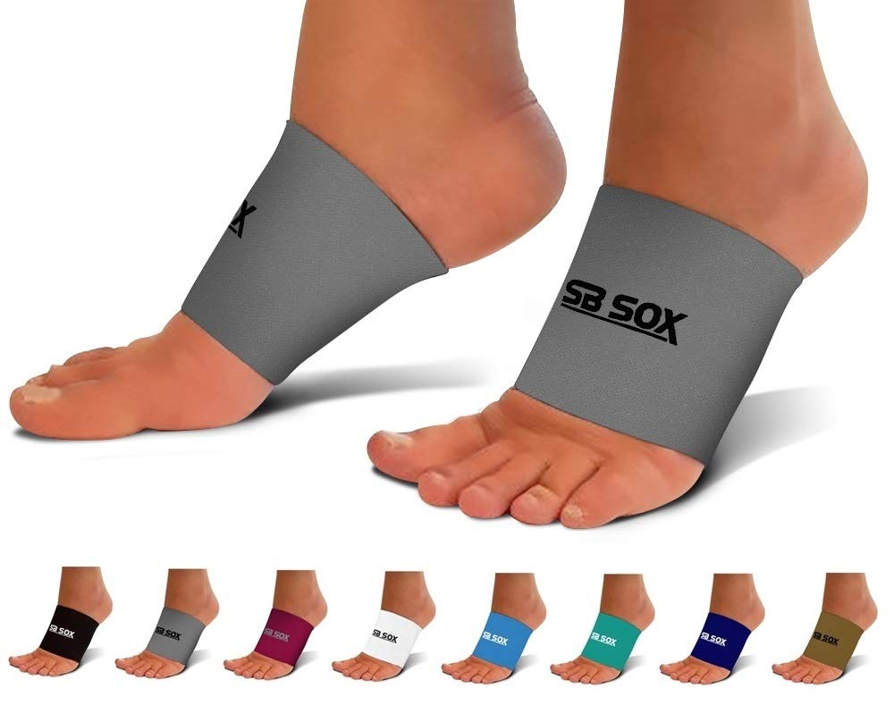 SB SOX Compression Arch Sleeves for Men & Women - Perfect Option to Our Plantar Fasciitis Socks - for Plantar Fasciitis Pain Relief and Treatment for Everyday Use with Arch Support (Gray, Medium) by SB SOX