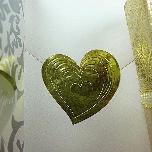 25 PCS Gold Heart Envelope Seals 1-1/2 X 1-3/8 Foil Embossed Stickers ()