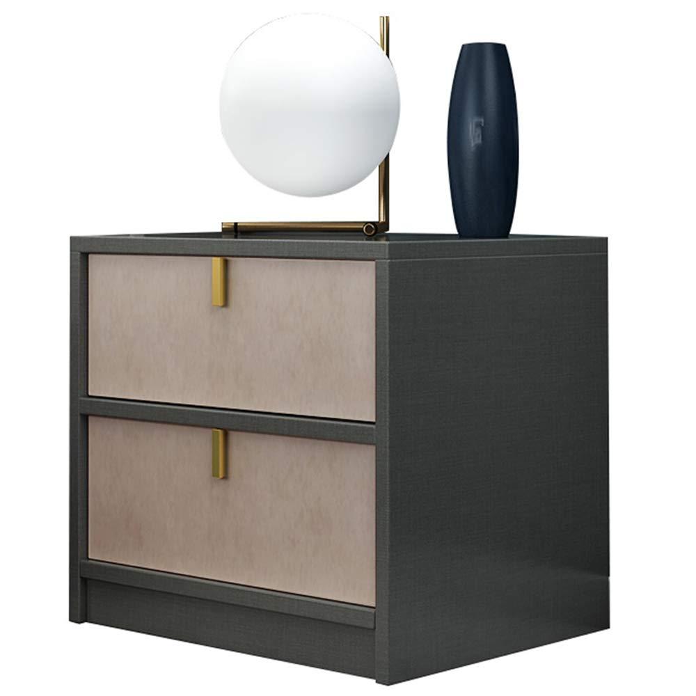 Nachttisch Multifunktionaler Grauer Holz-Nachttisch mit 2 Schubladen, goldfarbener Edelstahl-Aufbewahrungssofa-Beistelltisch, geeignet für Hotel-Nachttisch mit Wohnzimmer und Schlafzimmer