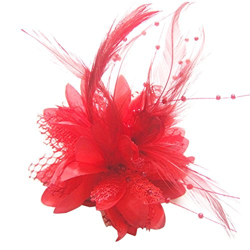 - Pop Your Dream Vintage Women Hairpin Silk Floral Bridal Feather Lace Fancy Wedding Party Cocktail Bead Hair Accessories