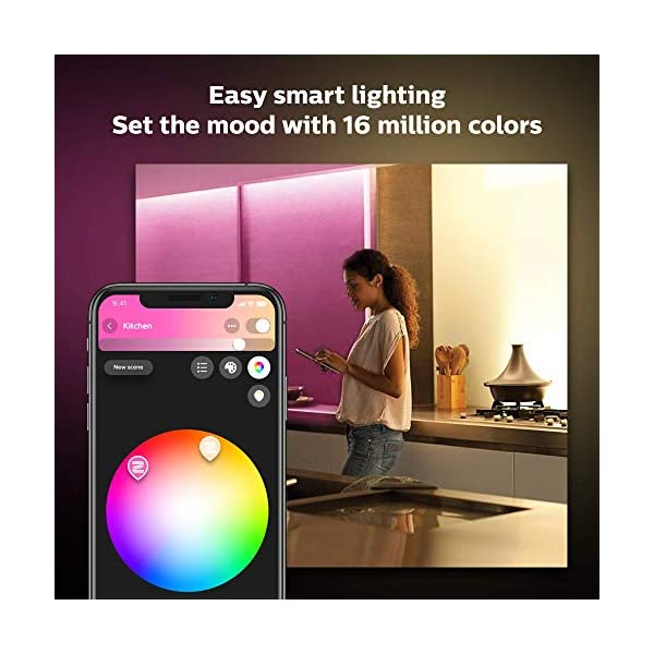 Philips Hue Bluetooth Smart Lightstrip Plus 2m/6ft Base Kit with Plug, (Voice Compatible with Amazon Alexa, Apple… 3