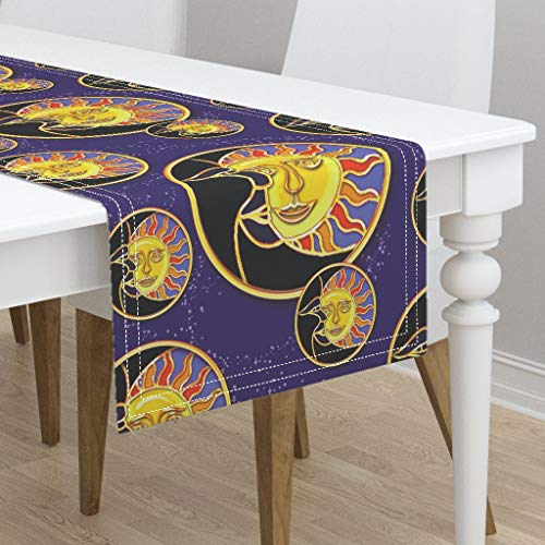 Eclipse Solar Lunar Eclipse Celestial Solar Eclipse Eclipse Sun Moon by Doodledoer-Teresakelly - Cotton Sateen Table Runner 16 x 90 ()