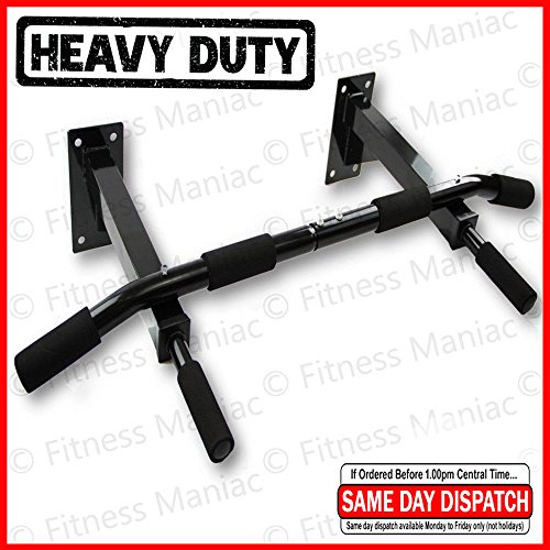 Authentic Wall Mounted Chin Up Pull Up Exercise Bar Chinning Up Bars Bracket Workout Dip Station Black