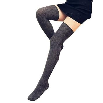 fheaven 1 par muslo alta calcetines por encima de la rodilla Niñas Algodón Calcetines Largos Calentadores De La Pierna Medias Leggings: Amazon.es: Oficina y ...