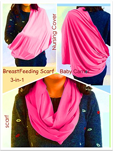 BayB Brand 3-in-1 Nursing Cover Up, Baby Sling & Scarf - Pink