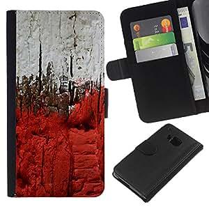 EJOY---La carpeta del tirón la caja de cuero de alta calidad de la PU Caso protector / HTC One M7 / --Ciudad Deep Blood Ver Pintura Gris