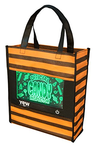 YEW Stuff POP Lights: Halloween Bag for Kids, Candy Bag, Trick or Treat Bag, Halloween Bags with Removable LED Light (Candy Inspector) -
