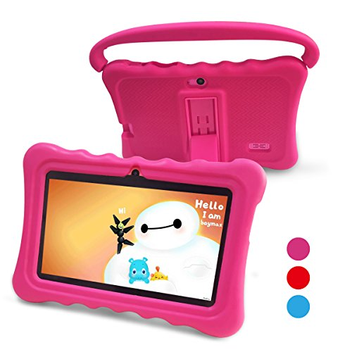 Kids Tablet,Auto Beyond 7 inch Tablet for Kids,Google Android 6.0 System with Handle Silicone,Per-installed iWawa and AR Zoo APP,IPS Display Screen,1GB+8GB,Wi-Fi,Bluetooth(Pink)