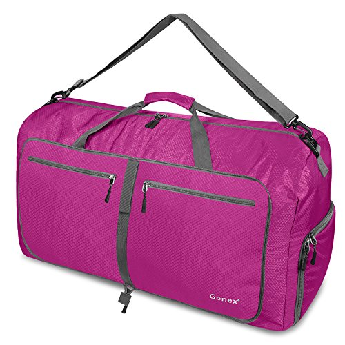 Gonex 80L Foldable Travel Duffle Bag for Luggage, Gym, Sport, Camping, Storage, Shopping Water & Tear Resistant Rose Red