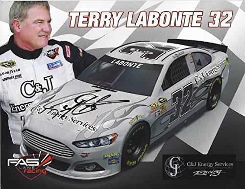 Autographed 2015 Terry Labonte  32 C J Energy Services Racing  Fast Lane Racing  Signed Picture Nascar 8X10 Inch Hero Card Photo With Coa