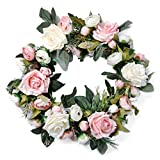 Pauwer Artificial Pink Peony Door Wreath 13'' - Decorative Floral Wreath Silk Flower Wreath for Front Door, Indoor, Wedding, Wall Decor (Pink)