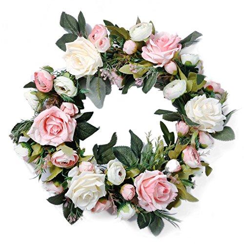 Pauwer Artificial Pink Peony Door Wreath 13'' - Decorative Floral Wreath Silk Flower Wreath for Front Door, Indoor, Wedding, Wall Decor (Pink) by Pauwer