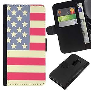 A-type (Flag Stars Stripes Red White Blue) Colorida Impresión Funda Cuero Monedero Caja Bolsa Cubierta Caja Piel Card Slots Para LG G2 D800