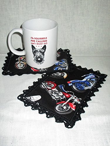 (SET OF 2 MOTORCYCLE THEMED MUG RUGS WITH BLACK CROCHETED)