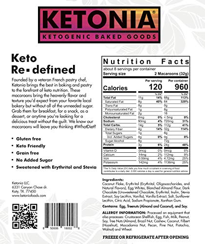 Ketonia Keto Coconut Macaroons - 16 Hand Made Macaroons - 1/2 Net Carb & 60 Calories Per Macaroon - Gluten & Grain Free - Low Carb - Natural MCT's - Stay in Ketosis 2