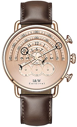 tz Chronograph Sport Watches for Men Rose Gold Dial Leather Band (Dark Brown) ()