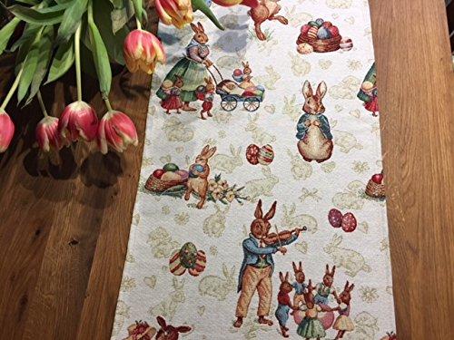con coniglietti pasquali circa 40/x 140/cm di Provencestoffe. Splendido runner per il tavolo