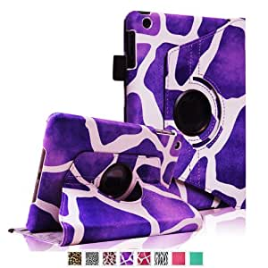 FINTIE (Giraffe Purple) 360 Degree Rotating Stand Smart Cover Case for Apple iPad mini 7 inch Tablet With Auto Wake / Sleep Feature-Multiple Choice