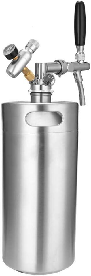 BONHEUR Mini Barril de Cerveza Dispensadores de Acero Inoxidable Barril de Cerveza de Acero Inoxidable con Grifo Growler Ajustable y CO2 inyector de 3,6 litros / 5L Jiji (Size : 5L)