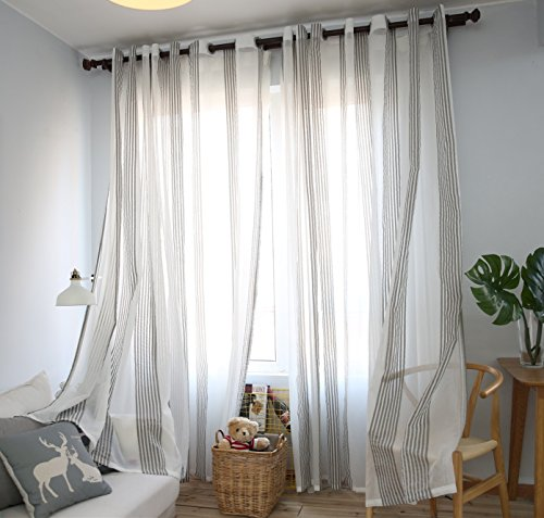 DEZENE Vertical Striped Window Treatments Panel Sheer Curtains with Gromments for Living Room,76 x 96 Inches( Width x Length),Grey and White,1 - 96 Stripe Sheer Inch