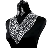 Comelyjewel Fashion Jewelry Girls Long Alloy Mesh Statement Party Women Necklace Earrings Set (Silver Leopard)