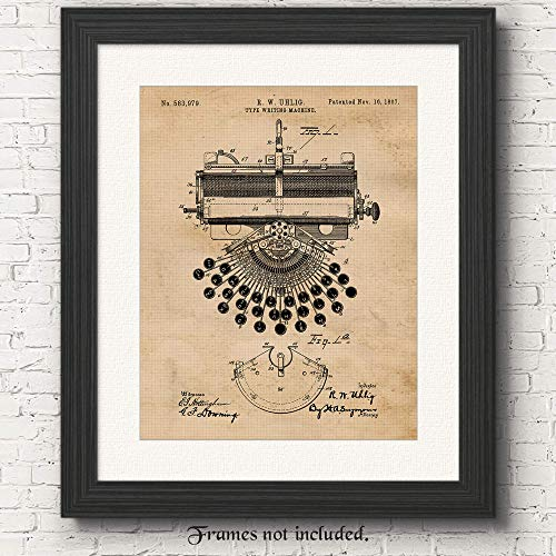 Original Typewriter Patent Poster Print- Set of 1 (One 11x14) Unframed Pictures- Great Wall Art Decor Gifts Under $15 for Home, Office, Garage, Man Cave, Teacher, Author, Writer, Journalist, Fan ()
