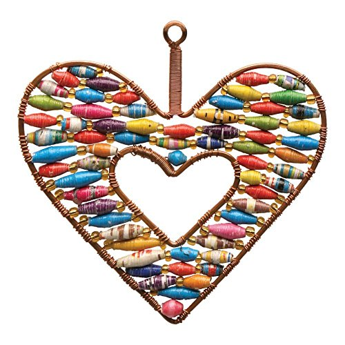 Handcrafted Open Heart Fair Trade Ornament in Copper and Colorful Paper (Beaded Heart Ornament)