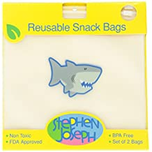Stephen Joseph Reusable Shark Snack Bag, Clear, 2-Pack