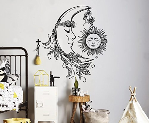 Crescent Moon Wall Decal Sleeping Sun Vinyl Sticker Astrology Home Interior Art Decor Ideas Bedroom Living Room Office Removable Housewares 9(nt)