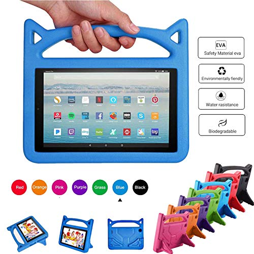Case for All-New HD 10 Kids Tablet (2015/2017 Release) - Mr. Spades [Multi-Angle Viewing] Shock Proof Light Weight Convertible Handle Stand Kids Friendly Cover for HD 10.1