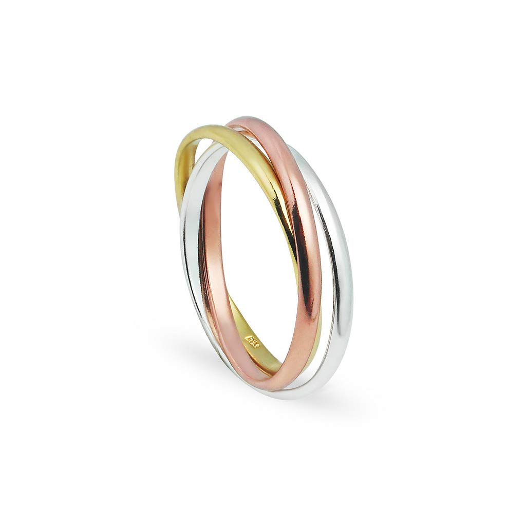 Full /& Half Sizes 5-14 Rose /& Yellow Gold Flashed 925 Sterling Silver Triple Interlocked Rolling High Polish Ring