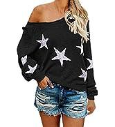 COCOLEGGINGS Women's Scoop Neck Long Sleeve Star Pullover Sweater Tunic Tops