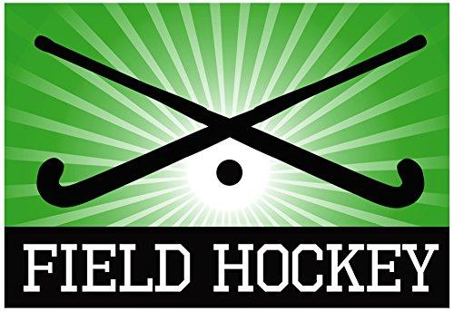 Field Hockey Crossed Sticks Green Sports Poster Print 19 x 13in with (Hockey Crossed Sticks)