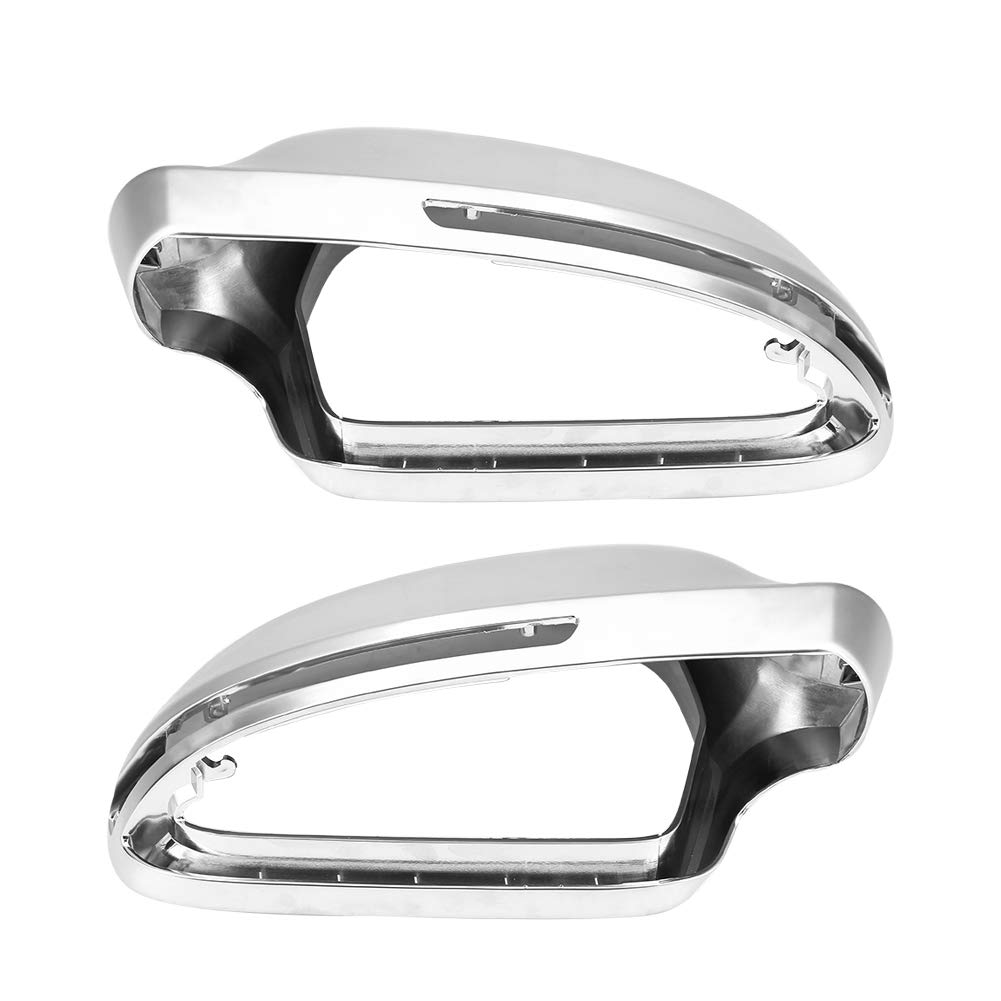 Hlyjoon 2Pcs Car Rearview Mirror Protective Cover Left and Right Matte Chrome ABS Auto Exterior Side Rear View Mirror Shell Protector Cap Trim for B8 A4 A5 A6 S4 RS4 S6 RS6 2009 2010 2011 2012