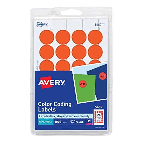 Avery Print/Write Adhesive Removable Labels, 0.75 Inch Diameter, Red - Orange Neon, 1008 per Pack  (5467)