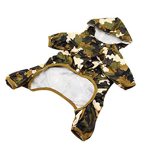 YAODHOAD Dog Raincoat, Waterproof Nylon, 4-Leg Pet Raincoat,Adjustable Pet Dog Waterproof Jumpsuit Raincoat Jacket with Safe Reflective Strips (M, Jungle Camouflage)