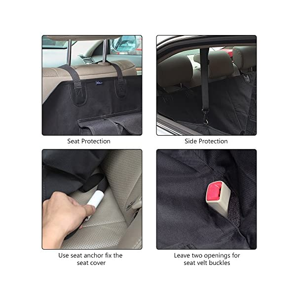 HAITRAL Pet Seat Cover Hammock Style Dog Seat Cover Protector For Car Waterproof And Nonslip Black