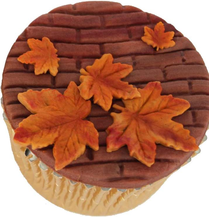 TraderPlus 2Pcs Thanksgiving Maple Leaf Silicone Mold Chocolate Candy Moulds with Turkey Cupcake Topper