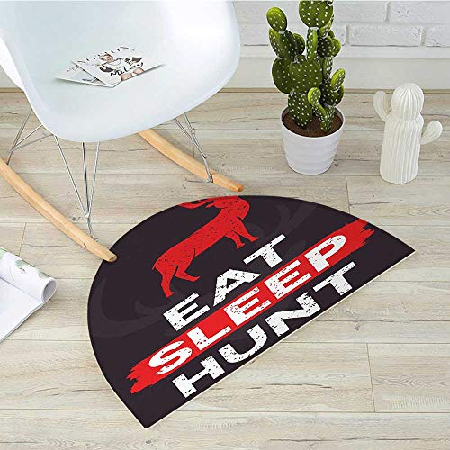 Hunting Half Round Door mats Eat Sleep Hunt Inspirational Quote Grunge Retro Deer Silhouette Antlers Bathroom Mat H 39.3