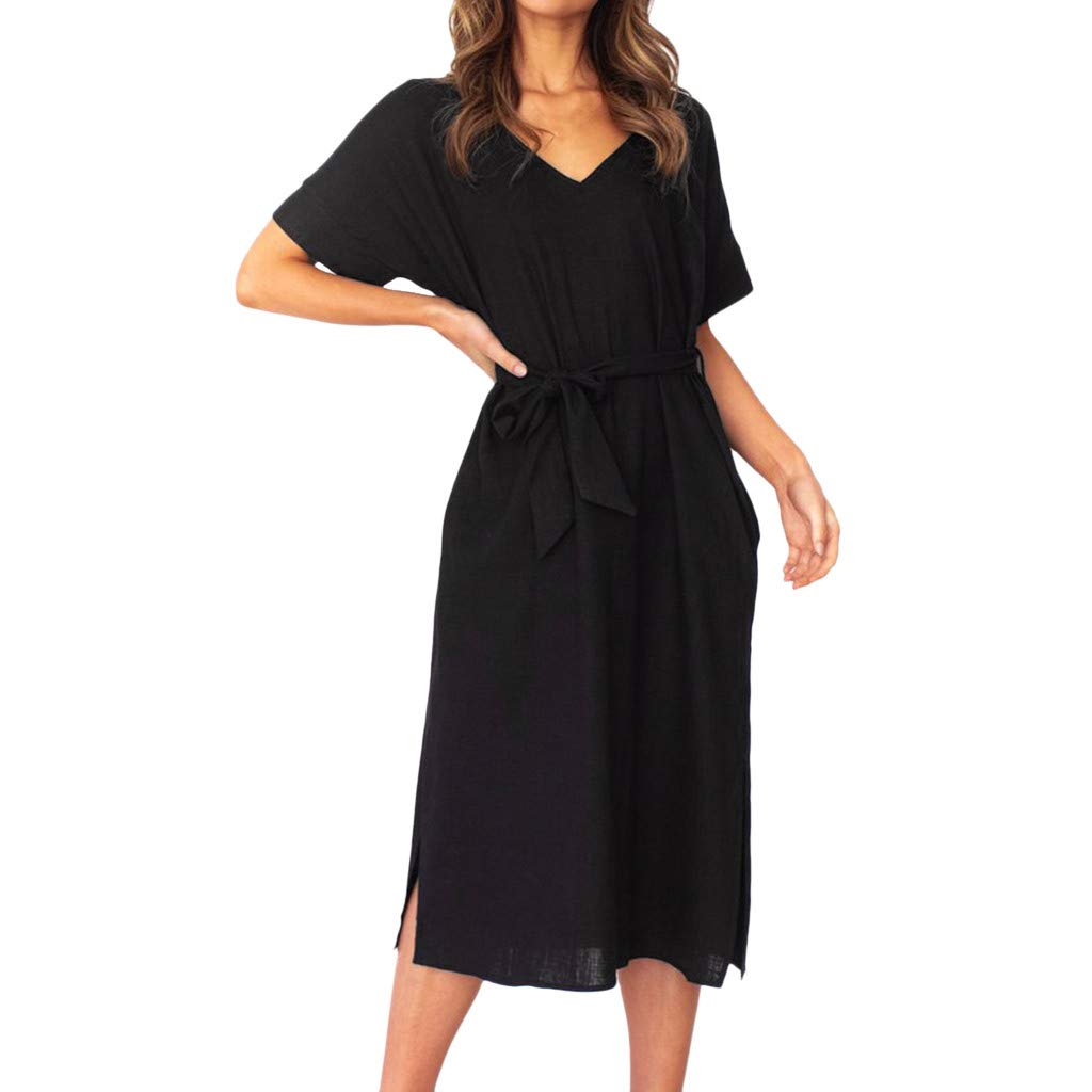 〓COOlCCI〓Women Deep V Neck Short Sleeve Cross Wrap Casual Flared Midi Dress Casual Sundress Midi Bodycon T Shirt Dress Black