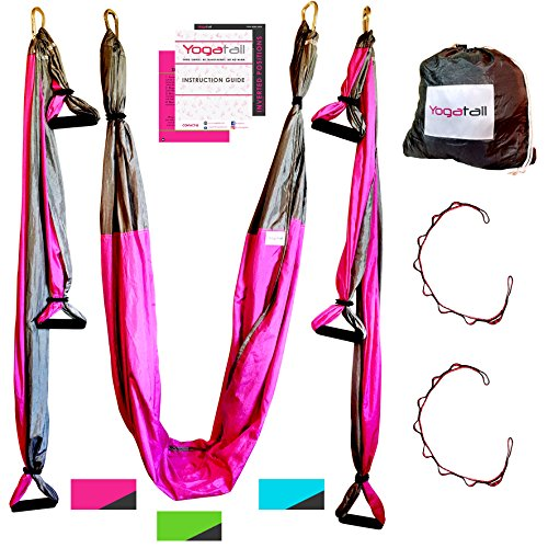 Aerial Yoga Swing - Gym Strength Antigravity Yoga Hammock - Inversion Trapeze Sling Exercise Equipment with Two Extender Hanging Straps - Blue Pink Grey Swings & Beginner Instructions.  by Yogatail (Image #1)