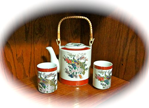 Vintage Satsuma Ceramic Peacock Tea Pot with Two Glasses/Cups