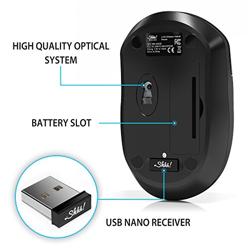ShhhMouse Wireless Silent Mouse | Portable and Ready-to-use | Mac and PC Compatible - Black