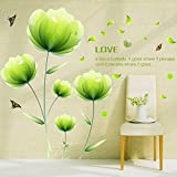 Alrens_DIY(TM)Green Flowers Butterflies DIY Vinyl Wall Sticker Mural Removable Home Decoration Sofa TV Background Decor Living Room Bathroom Decorative Mural Decal
