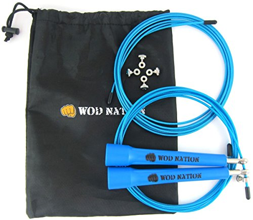 WOD Nation Speed Jump Rope - Blazing Fast Jumping Ropes - Endurance Workout for Boxing, MMA, Martial Arts or Just Staying Fit + FREE Skipping Training Included - Adjustable for Men, Women and (Adjustable Free Gift)