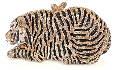mossmon Luxury Crystal Clutches For Women Tiger Evening Bag (gold/style B) by Mossmon (Image #7)
