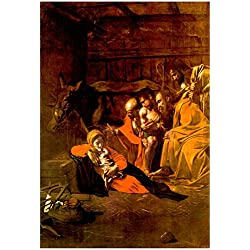 Michelangelo Caravaggio Adoration of the Shepherds Art Print Poster 13 x 19in