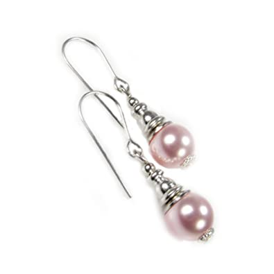 Sterling Silver Rosaline Pale Pink Crystal Handmade Earrings Made With SWAROVSKI ELEMENTS Pearls Th83er