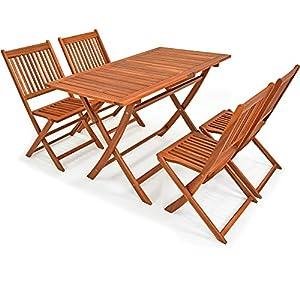 Deuba – Ensemble de Jardin 4+1 – Bois d'acacia – Sydney Light – 1 Table + 4 chaises Pliables – Salon de Jardin, Table et…