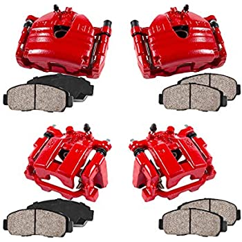 CCK01466 FRONT Ceramic Brake Pads Kit 4 Performance Grade Loaded Powder Coated Red Calipers REAR
